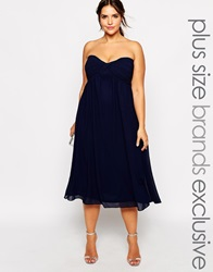 Truly You Bandeau Midi Dress Navy