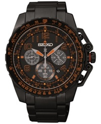 Seiko Men's Chronograph Solar Black Tone Stainless Steel Bracelet Watch 44Mm Ssc277