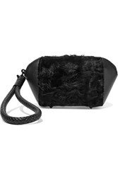 Alexander Wang Goat Hair Paneled Leather Cosmetics Case Black