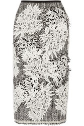 Erdem Safia Tweed And Guipure Lace Midi Skirt Black