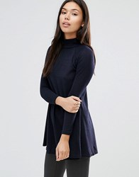 Ax Paris Turtle Neck Knitted Swing Top Navy
