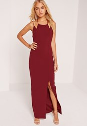 Missguided Double Strap Split Hem Maxi Dress Burgundy