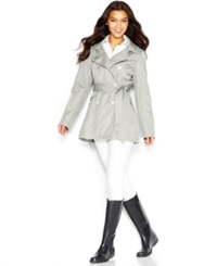 Jessica Simpson A Line Hooded Trench Coat Silver