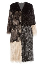 Anna Sui Mixed Media Faux Fur Coat Gr. 6