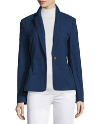 Diane Von Furstenberg Gavyn Chambray Single Button Blazer Midnight Black Women's