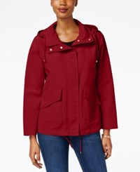 Charter Club Petite Hooded Utility Swing Jacket Only At Macy's New Red Amore