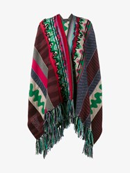 Etro Wool Blend Patchwork Tassel Poncho Multi Coloured White