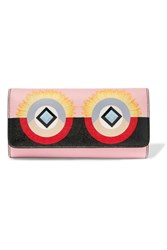 Fendi Embellished Printed Textured Leather Wallet Pink
