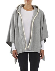 Three Dots Oversized Hooded Poncho Grey