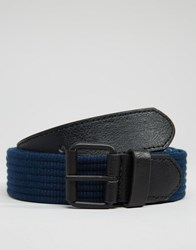 Asos Woven Belt With Black Coated Buckle Black Navy