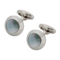 Mulberry Mother Of Pearl Silver Plated Coin Cufflinks Black