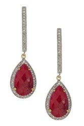 Olivia Leone 14K Yellow Gold Plated Sterling Silver Genuine Dyed Ruby And White Topaz Earrings Red