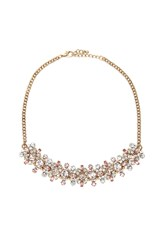 Forever 21 Faux Gem Statement Necklace Antique Gold Pink