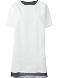 Mm6 Maison Margiela Layered Denim Loose Fit Dress White