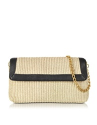 Buti Straw And Leather Clutch W Shoulder Strap Black