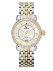 Michele Csx Elegance Diamond Mother Of Pearl And 18K Goldplated Two Tone Stainless Steel Bracelet Watch Silver Gold