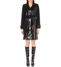 Wanda Nylon Patent Panelled Wool And Cashmere Blend Trench Coat Black
