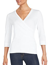 Saks Fifth Avenue Black Wrap Front Top White