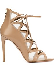 Aquazzura Laced Stiletto Sandals Brown