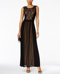 Connected Lace Inset A Line Gown Black Gold