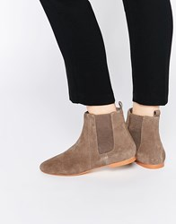 Faith Smith Taupe Suede Leather Ankle Boots Beige