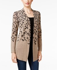 Charter Club Cashmere Animal Print Cardigan Only At Macy's Heather Taupe