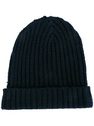 Warm Me Ribbed Beanie Blue