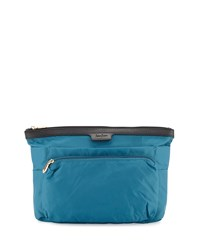 Neiman Marcus Extra Large Nylon Travel Cosmetic Bag Peacock