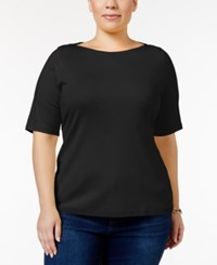 Charter Club Plus Size Boat Neck T Shirt Only At Macy's Deep Black