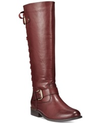 Wanted Lounge Tall Shaft Corsetted Riding Boots Women's Shoes Burgundy