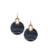 Michael Kors Gold Tone Black Agate Disc Drop Earrings