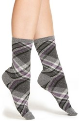 Women's Lauren Ralph Lauren Plaid Crew Socks Charcoal