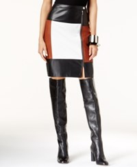Inc International Concepts Faux Leather Colorblocked Pencil Skirt Only At Macy's Rawhide White