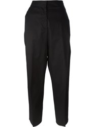 Alberto Biani Pleated Tapered Cropped Trousers Black