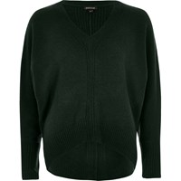 River Island Womens Dark Green Ribbed Panel Batwing Jumper
