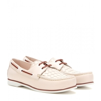 Bottega Veneta Antique Intrecciato Leather Boat Shoes Pale