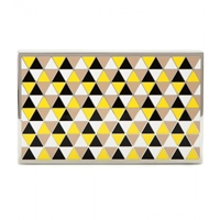 Victoria Beckham Hard Metal Enamel Box Clutch Yellow Black White Grey
