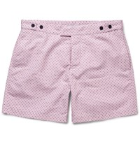 Frescobol Carioca Slim Fit Paraty Mid Length Printed Swim Shorts Pink
