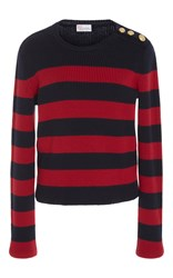 Red Valentino Striped Ribbed Sweater Navy