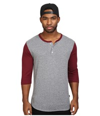 Brixton Adam 3 4 Henley Heather Grey Maroon Men's Long Sleeve Pullover Gray
