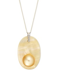 Macy's Pearl Necklace 14K Gold Golden South Sea Pearl Pendant 11Mm