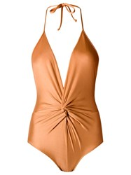 Adriana Degreas Ruched Swimsuit Yellow Orange