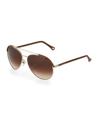 Ermenegildo Zegna Round Leather Aviator Sunglasses Golden Brown