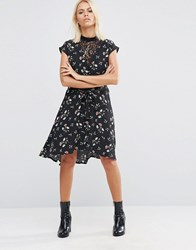 Asos Lace Insert Tea Dress In Ditsy Floral Multi