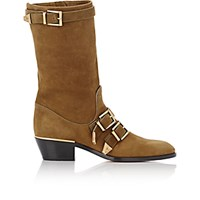 Chloe Women's Buckle Strap Mid Calf Boots Dark Green