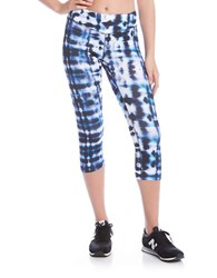 Karen Kane Blurred Lines Active Cropped Pants Blue