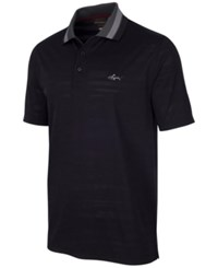 Greg Norman For Tasso Elba Men's Jacquard Mesh Polo Only At Macy's Deep Black