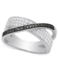 Victoria Townsend White And Black Diamond Crossover Ring 1 4 Ct. T.W. In Sterling Silver