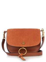 Chloe Kurtis Small Suede And Leather Cross Body Bag Tan
