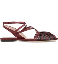 Lk Bennett Sara Strappy Leather Sandals Red Merlot